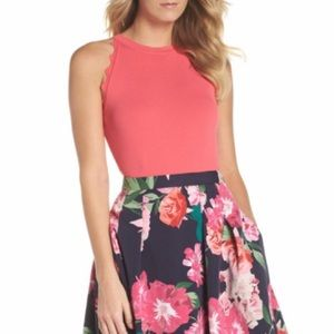 $88 Eliza j coral scallop tank top fitted sleevele